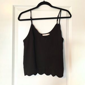 Black cropped scallop tank